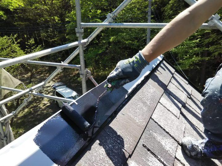 屋根 棟板金中塗り
