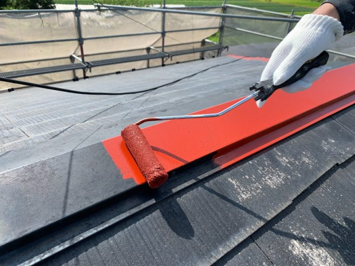 屋根 棟板金 錆止め塗装
