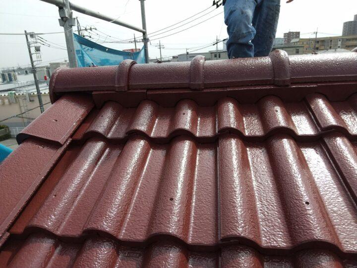 屋根 棟瓦補修完了
