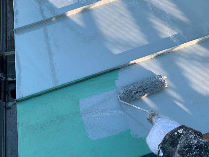 玄関屋根 下塗り(錆止め)